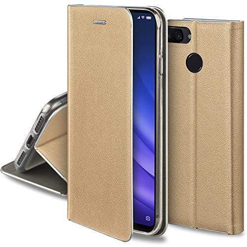 Moozy Funda con Tapa para Xiaomi Mi 8 Lite, de Cuero PU Oro – Flip Cover con Bordes Metalizados de Protección Elegante, Soporte y Tarjetero