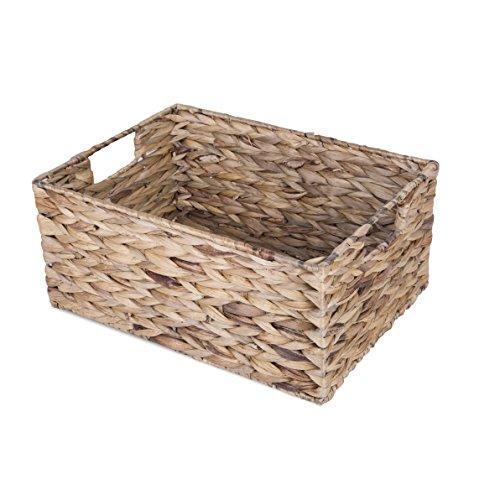BASIC HOUSE Water Hyacinth Wicker Storage Collection Display Hamper Basket (Large)