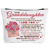 To My Granddaughter Gifts Graduation Gifts for Granddaughter Birthday Gifts Back to School Gift Granddaughter Gifts from Grandma, Wedding Gifts for Granddaughter Makeup Bag-How Much I Love You