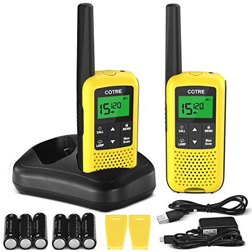 Walkie Talkies - COTRE Two Way Radios, Up to 32 Miles Long Range USB Rechargeable Walkie Talkies w/ 2662 Channels, NOAA & Weather Alerts, VOX Scan, LED Lamplight for Outdoor Activities, Yellow(2 Pack)