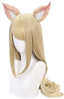耐熱コスプレウィッグ KDA女団 ウィッグ 鬘 カツラ 高温耐熱 コスプレ cosplay wig イエロー パープル ブラウン (Ahri アーリ)