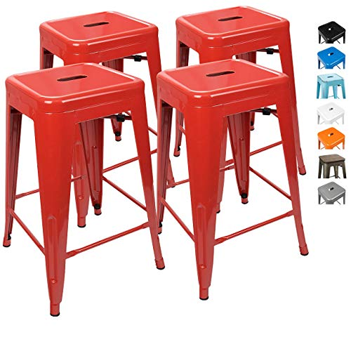 UrbanMod 24 Inch Bar Stools for Kitchen Counter Height, Indoor Outdoor Metal, Set of 4, Red