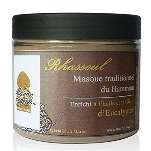 Rhassoul enrichi à l'Eucalyptus - Argile Purifiante du Maroc 100% Naturelle - Masque Peau et Cheveux - 250g