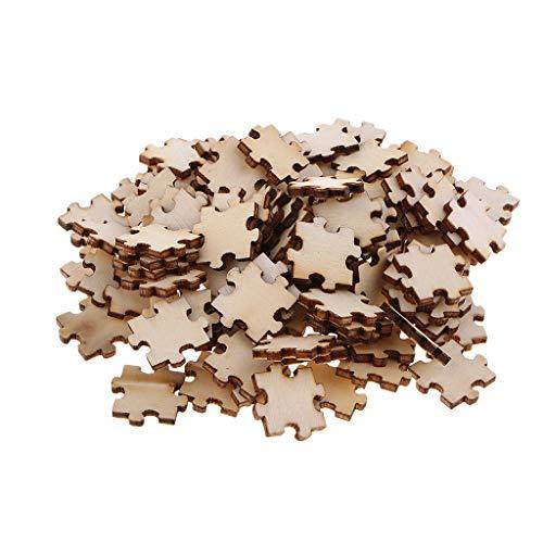 B Baosity 100 Stücke Puzzle Holzscheiben zum basteln Hängende Verzierungen Bastelbedarf für Kinder DIY