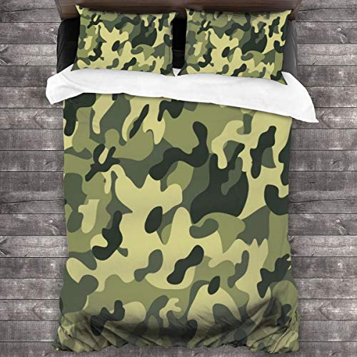 WEQIANGHAN Camouflage Design Duvet Cover Set, Soft 100% Microfiber Bedding Set for Women Men Boys and Girls Bedroom Decoration 3 Pieces Bed Set(1 Duvet Cover 2 Pillowcase)