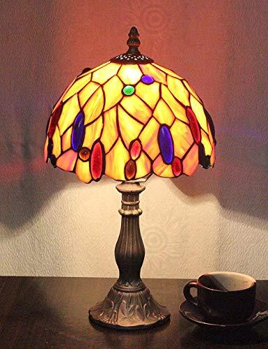 Lampada da comodino con lampada da tavolo in vetro colorato pastorale per 8 pollici