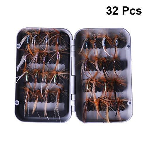 LIOOBO Kit de Pesca con Mosca, Moscas secas, cebos, señuelos de la Pesca con Mosca para Bass Salmon Trout 32pcs