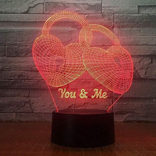 ZWANDP Lámpara de Ilusión 3D Led Luz Nocturna Óptica Interruptor y Control Remoto Escritorio Táctil 7 Colores Botón Táctil y Cambio de Cable Usbtouchideas Amor Regalos Pareja Estilo Cerradura