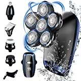 Afeitadora Electrica Hombre, 5 In 1 Afeitadora Cabeza Hombre 6D Máquina de Afeitar Impermeable con Pantalla LED Uso en Húmedo & Seco Recortador de Barba y Nariz Recargable USB