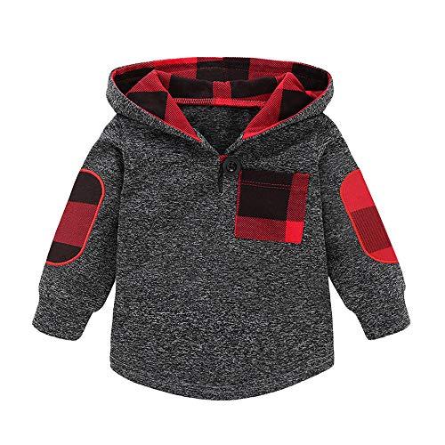 Goosuny Goosuny Baby Jungen Mantel Herbst Winter Jacke Wame Sweatjacke Mit Kapuze Oberbekleidung Verdickung Kapuzenpullover Hoodie Babykleidung (6 Monat - 3 Alter)(Grau A,70)