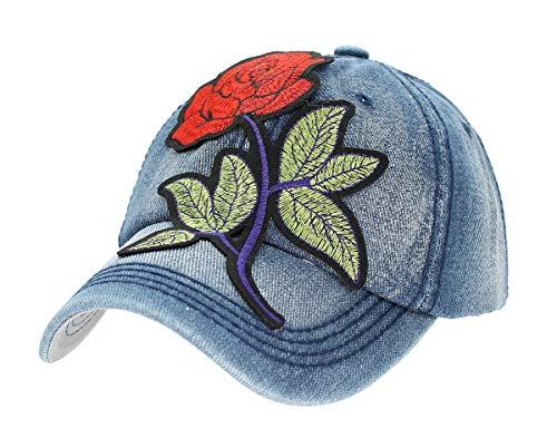 dy_mode Damen Jeans Kappe Basecap Baseball Cap Mütze Kappe mit Schmetterlinge Butterfly Blumen - K004 (K005-Hellblau-Rose)