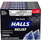 HALLS Relief Max Strength Extra Strong Menthol Throat Drops, 20 Packs of 9 Drops (180 Total Drops)