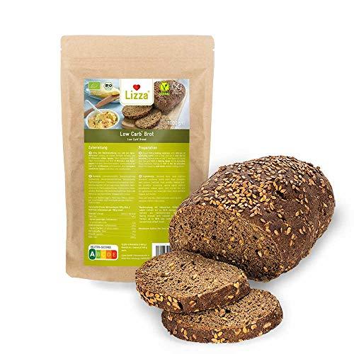 Lizza Low Carb Brot Backmischung 1kg Packung | 89% weniger Kohlenhydrate | Bio, Glutenfrei, Vegan | Keto-, Atkins-...