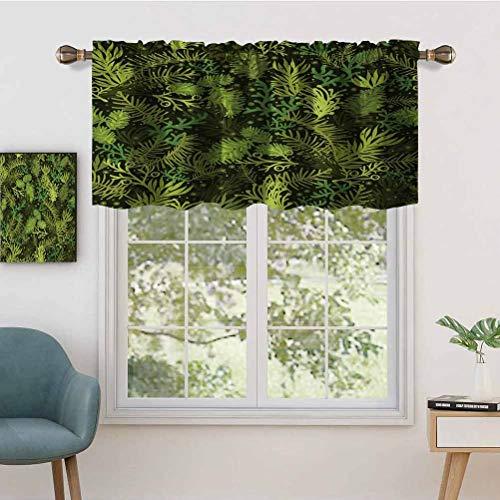 Hiiiman Blackout Curtain Valances, Short Rod Pocket Curtain Panels Evergreen Christmas Tree Coniferous Fir Pine Leaves Retro Seasonal, Set of 2, 42'x36' for Kitchen Bathroom