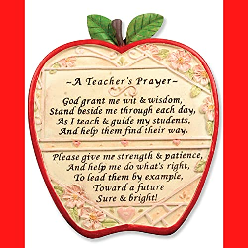 Banberry Designs Teacher Apple Plaque - A Teacher s Prayer - End of School Year Thank You Gift Brown 7 Inch