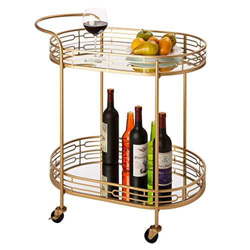 Glitzhome 30.71' H Oval Gold Bar Cart with 4 Wheels 2-Tier Deluxe Tray Metal Mirrored Glass Top...