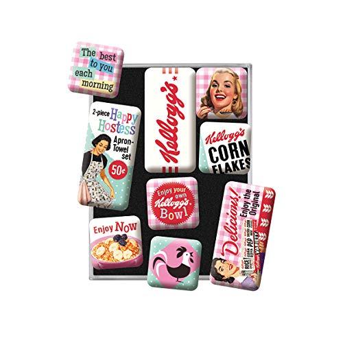 Nostalgic-Art Juego de Imanes Retro , Kellogg's – Happy Hostess – Regalo para la Cocina, Decoración para la Nevera, Diseño Vintage, 9 Unidades