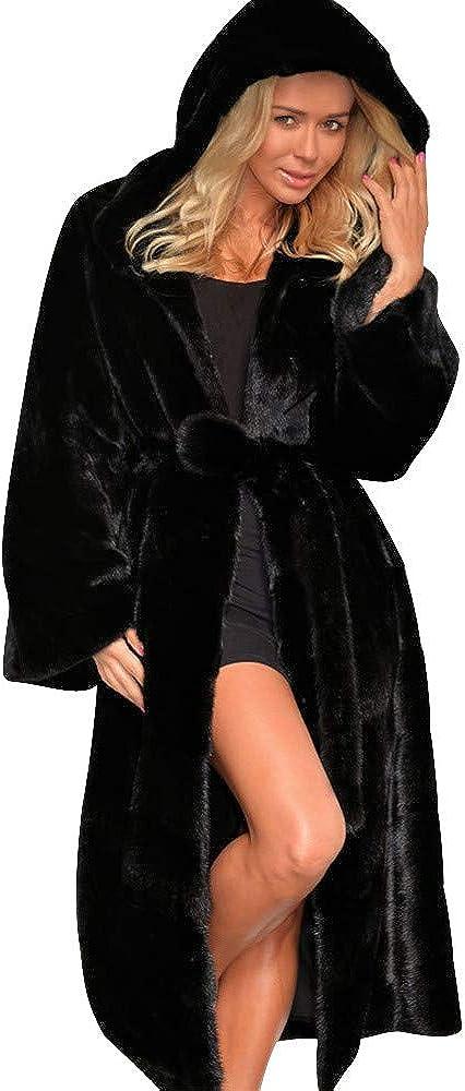Kangma Womens Faux Fur Maxi Coat Parka Jacket Winter Warm Overco