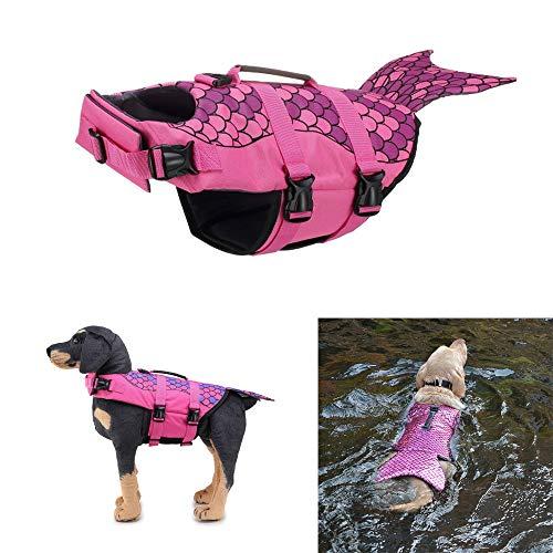 Schwimmweste für Hund Rettungsweste Pet Hundeschwimmweste mit Griff Größenverstellbar Badeanzug Safe Life Jacket Rettungswesten Schutzkleidung Schwimmhilfe für Groß Mittel Kleine Hunde L