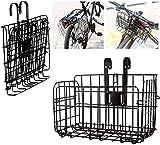Plegable de la Cesta Portátil Posterior de la Bicicleta Malla de Alambre Plegable Desmontable Bolsa Delantera Colgante Trasero Cesta de Bolsa de Bicicleta Estante de Carga para Accesorios (Negro)
