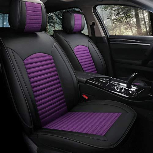 Housse de Sieges Auto Car Seat Covers, 5 Set Seat Cover siège étanche universel véhicule complet protecteurs de coussin en cuir Compatible Airbags (Color : Black purple)