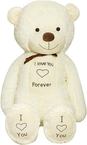 en stock TEDBI Oso de Peluche Gigante 220cm   Crema     Gran Oso de Peluche de Juguete de Regalo de cumpleaños del corazón XXL Teddy Bear con Bordado Te Amo para Siempre  marca famosa