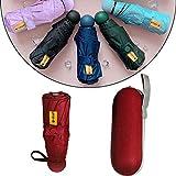 Mini Parapluie Pliant,Parapluie de Poche & Parapluie de Voyage & Parapluie Pliant,Ultra-léger Compact Portable Anti-UV avec Boîte de Capsule, pour Voyage /Golf/Randonnée/Sac à Main/Poche