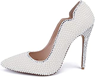Women's High Heels Wedding Shoes, Thin Heeled 10.5 cm Closed-Toe Pointed Pearl Rhinestone Sexy High-Heeled Shoes Non-Slip Comfortable for Wedding Banquet Wear