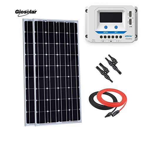 Giosolar 200W 12V Pannello Solare Starter Kit: Pezzi 100W Pannello Solare monocristallino con 20A LCD regolatore di Carica per Camper Barca off-Grid