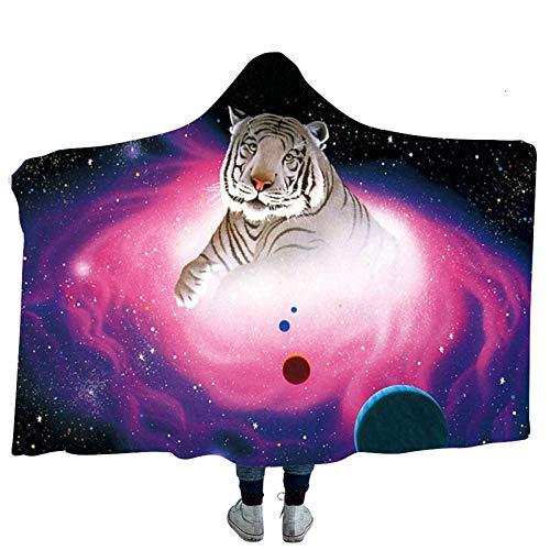 Tiger Print Art Manta con capucha para adultos Niños Fleece Manta portátil Hombres Mujer Mantas Manta Capa para el hogar Oficina Travel-Model_20_150x200cm_CHINA