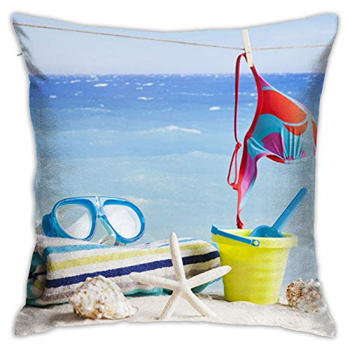 HXJIULI Coast_Towel_Shells_Glasses_Sand_Clothespin_Bra Modern Decorative Pillowcase, Suitable for Decorating Sofa, Office, Bedroom, Living room18 x18 INCH