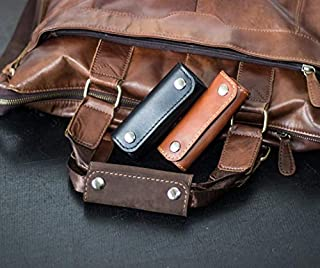 Personalized Leather Luggage Handle Wrap - Free Engraving Initials - 3 Leather Colors - Two Layers of 100% Genuine Leather - Made My Hands – Best Travel Gift - Reliable Handmade Handle Grip