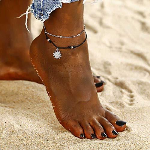 Forall Boho Perlen Fußkettchen Geflochtene Sonnenblume Knöchel Armband Vintage Silber Fußkettchen Geflochtene Kette Verstellbar Für Frauen Mädchen Freunde