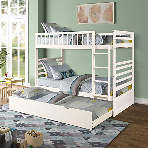 Merax Twin Over Twin Bunk Bed with Trundle, Convertible Solid Wood Trundle Bunk Bed, No Box Spring Needed, White