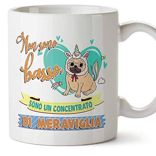 MUGFFINS Tazza Divertente - Non sono basso, sono un concentrato di meraviglia  - Idee Regalo con Disegno e Frase per Caffè e Colazione