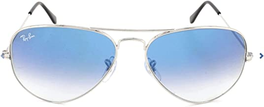 RAY-BAN RB3025 Aviator Large Metal Sunglasses, Silver/Blue Gradient, 62 mm