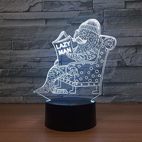 Siegel 3d Vision Nachtlicht Touch-Touch-Schalter Usb-Leuchten Schöne Farbe 3D-Lampe Spaß Geschenk für Lazy Man