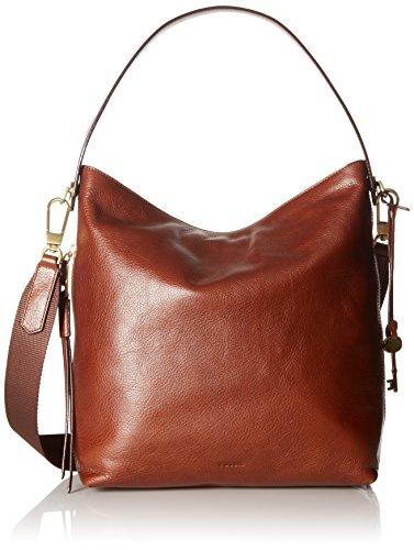 Fossil Women's Maya Small Leather Cross Body Bag Hobo - Brown