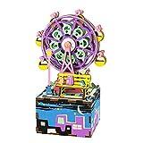 Rolife 3D Wooden Puzzle Hand Crank Music Box Toys Machinarium-DIY Wood Craft Kit-Creative Gift for Boys and Girls When Christmas/Birthday/Valentine's Day (Ferris Wheel)