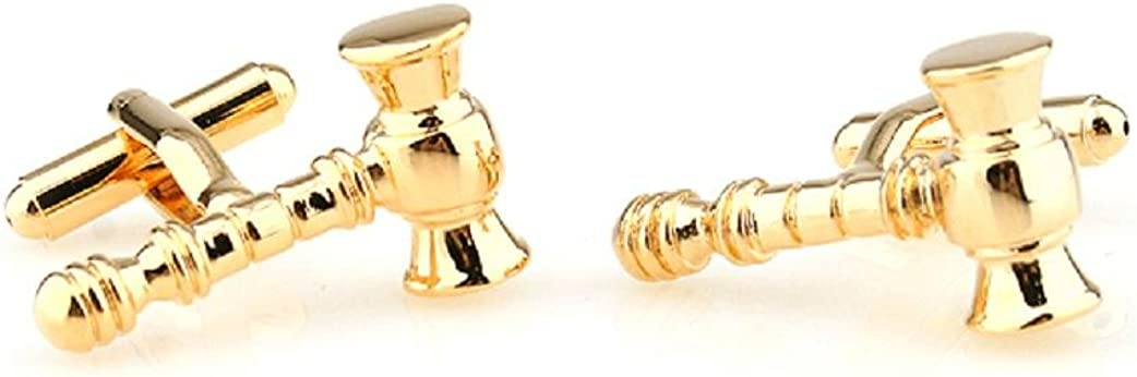 MRCUFF Gavel Judge Lawyer Mason Law Pair Cufflinks in Presentation Gift Box & Polishing Cloth