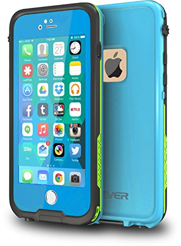 CellEver iPhone 6 Plus Waterproof Case (5.5' Version) Shockproof IP68 Certified SandProof Snowproof Diving Full Body Protective Cover Fits Apple iPhone 6 Plus and 6s Plus (5.5') - Sky Blue/Lime Green