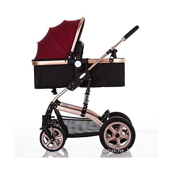 LAMTON High-View Stroller, Multi-Position Adjustable Shock-Absorbing Folding Four Season Jogging Stroller for Infants from 0 to 36 Months. Send 7 Gifts LAMTON Lycra skin-friendly fabric. Thick and non-pleated, soft and silky, warm and breathable, the best choice for baby soft skin. The frame connection is supported by a spring bracket, which effectively alleviates the shaking of the body, makes the cart more stable, and the baby sleeps more securely. Big fill cradle. High view. Reversible stroller seat. damping. Bump bumper. Large storage basket. Front wheel rotation with suspension spring. Fully adjustable 5-point seat belt Made of high-quality carbon steel pipe: streamlined curve, no rust, anti-oxidation, impact resistance, high strength, can adjust the most comfortable push position; reversible baby stroller seat allows the baby to easily face the parents or face the world. 1
