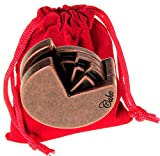 Cake Hanayama Puzzle, Level 4 Difficulty, with RED Velveteen Drawstring Pouch, Bundled Items