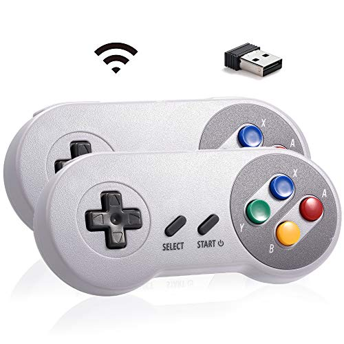 MODESLAB 2 Pack SNES Controller Wireless Classic USB Gamepad Retro PC Game Controller for Windows PC MAC Linux Raspberry Pi (Multicolored(#1))