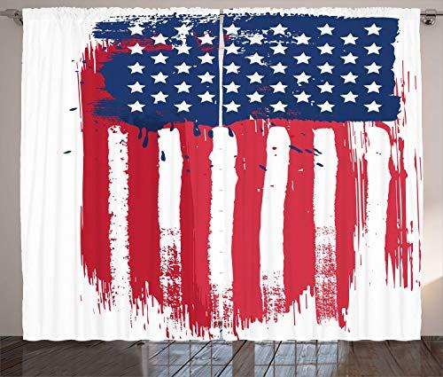 ABAKUHAUS Americano Cortinas, Vertical a Mano de la Bandera, Sala de Estar Dormitorio Cortinas Ventana Set de Dos Paños, 280 x 260 cm, Coral Oscuro Azul Marino