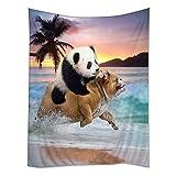 TSlook Hippie Tappassier Tapestry Bohemian Bedspread Funny Panda Ride Pug Dog Running in Beach 40' x...