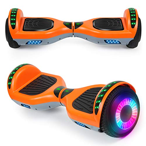 "SISIGAD Hoverboard with Bluetooth Speaker and Led Lights, Smart 6.5"" Self-Balancing Electric Scooter for Kids and Teenagers"