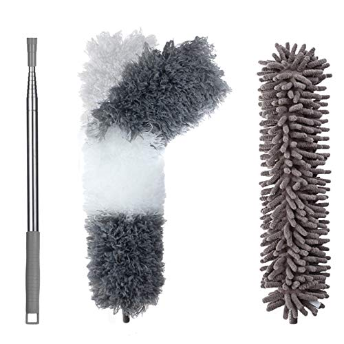 """SAWAKE Microfiber Duster with Extension Pole, 100"""" Extendable Duster with Bendable Head & Scratch-Resistant Cover, Washable Dusters for Cleaning Ceiling Fan, High Ceiling, Furniture, Blinds, Car"""