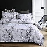 Mengersi Marble Duvet Cover Set Twin Size Bedding Set with Zipper Closure Gray White Black Color 2 Pieces (1 Duvet Cover + 1 Pillow Sham)
