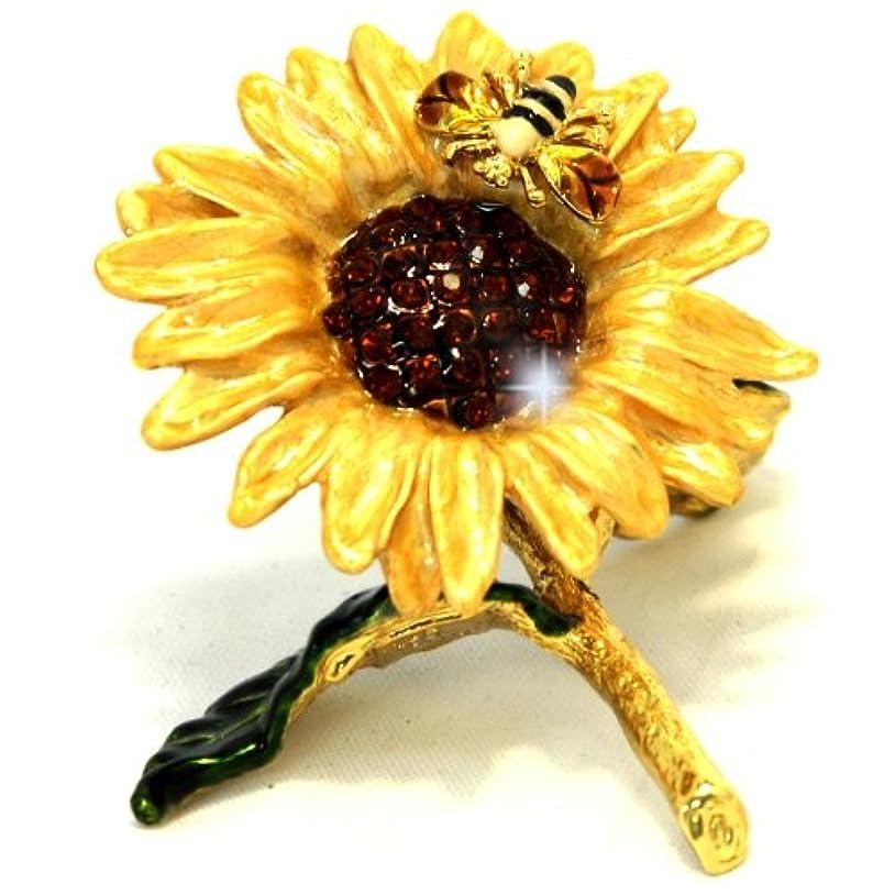 寸前パワー橋Objet D ' Art Release No。492「Here Comes the Sun」GoldenひまわりハンドメイドJeweled Trinketボックス